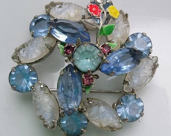 Vintage light blue stones and flowers brooch pin silver tone metal