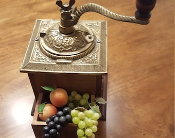 Coffee Grinder with Drawer Vintage Heavy Ornate Brass Top Brass Handle Wooden Knob