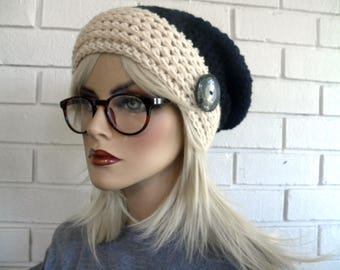 Slouchy Winter Hat, Boho Style Hat, Blue and White, Popular Hat Styles, Hippie Slouchy Beanie, Hand Crocheted ,  winter fashion accessories