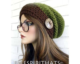Slouchy Hat, Green and Brown Slouchy hat, Winter Accessory, Boho Slouch Hat, Retro, Hippie, Hat With Button, Handmade, Gift for Women