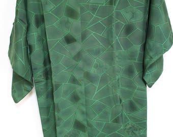 Vintage Japanese Haori Kimono Jacket Bright Green