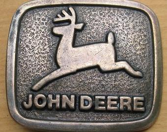 Belt Buckle John Deere Tractor Metal Running Deer Buckle