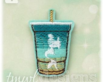 """Mermaid Lemonade Drink Feltie Digital Design File - 1.75"""""""