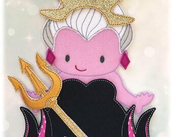 Sea Witch Husky Felt Paper Doll Outfit Digital Design File - Husky