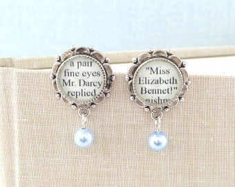 Jane Austen Jewelry / Pride and Prejudice / Pearl Drop Earrings / Pride and Prejudice Jewelry / Jane Austen Earrings / Literary Weddings