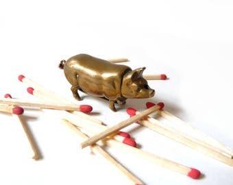 Antique Brass Match Striker Pocket Pyrogen Shaped Pig Match Holder Vesta 19th Free shipping