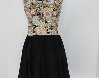 Beautiful 1960s Brocade & Chiffon Party Dress