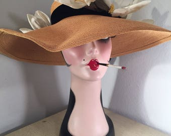 Vintage Woven Sun Hat -- Glamorous Velvet Band and a Crown of Magnolia Blossome!