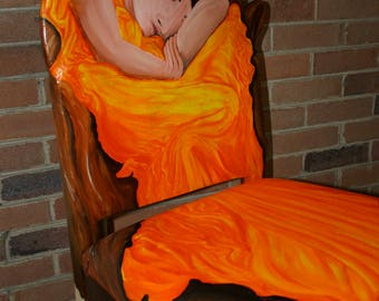 Flaming June upcycled chair painted by Artist Todd Fendos