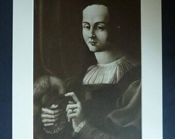 Vintage Matted Francesco Melzi Sepia Renaissance Portrait of a Girl with Parrot