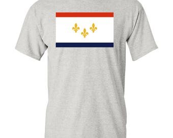 New Orleans City Flag T Shirt - Ash Grey