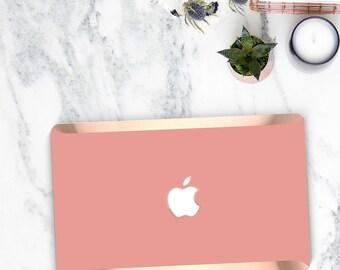 Pink Yucatan and Rose Gold Edge Detailing Hard Case for Apple Macbook Air & Mac Pro 13 Retina -  Platinum Edition