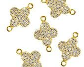 Beautiful Cubic Zircon Pave 'Clover' Shape Charm in Gold Vermeil 11x16mm size GemMartUSA (CHCZ-40160)
