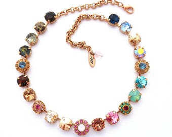 Swarovski Crystal Necklace, Rose Gold, Pink, Brown, Mint, 11mm Chatons (47ss), Multi Colored Ombre Flower Necklace, Mon Amour, FREE SHIPPING