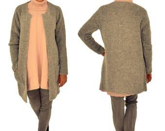 IL200GR Jacket Women's Boucle Cardigan knitted coat one size Verschlusslos Gr. 38-42 grey