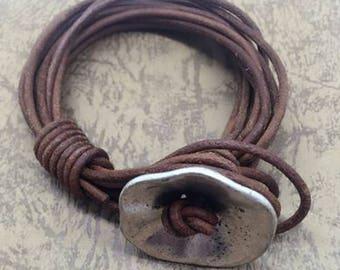 A101 Ladies bracelet Brown leather Metal Vintage