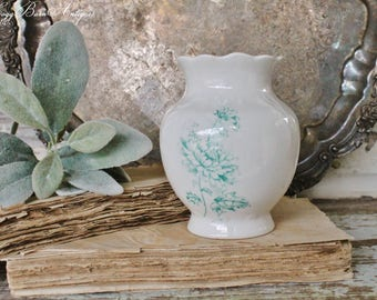 Antique White Ironstone Toothbrush Holder BONITA Teal Green Aqua Footed Vase Pot Container Farmhouse Decor Fixer Upper Decor