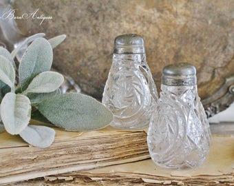 Antique Vintage Cut Glass Silver Salt Pepper Shaker Set French Farmhouse Decor Fixer Upper