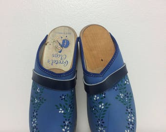 Turquoise Floral Gretel's Leather Wooden Clogs/ Size 6
