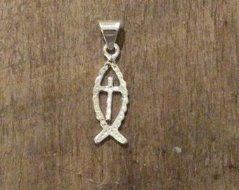 Jesus Fish Cross Pendant Sterling Silver
