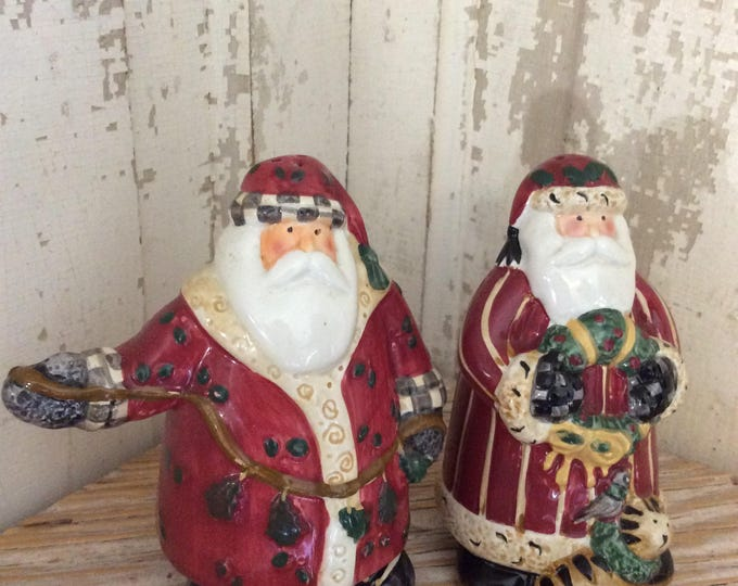 Vintage never used Debbie Mumm Santa's Spirit  hand painted earthenware salt and pepper shakers, Santa Clause salt and pepper, Sakura china