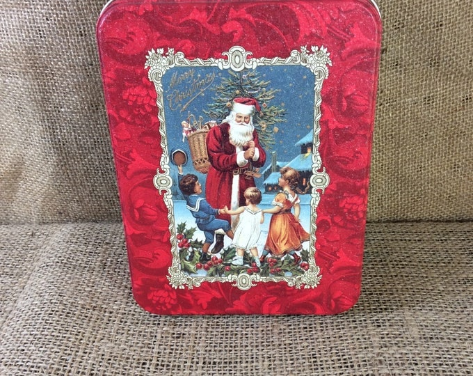Hallmark historical collection vintage from 1993 Christmas Santa tin & cards, 17 unused Christmas cards and envelopes, Hallmark collectible