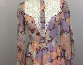 Vintage 60s 70s HOLMAN Purple Floral Victorian Prairie Maxi Dress S