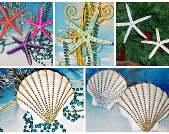 Large BLING Rhinestone STARFISH or SCALLOP Mobile Coastal Beach Wedding Christmas Holiday Ornament Tree Topper Hanging Gift Photo Shoot Prop