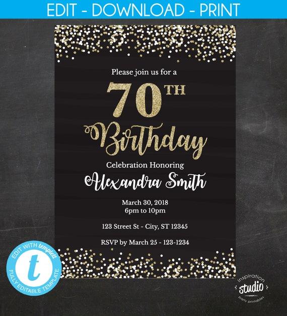 70th birthday invitation 70th birthday invite black and gold il570xn filmwisefo