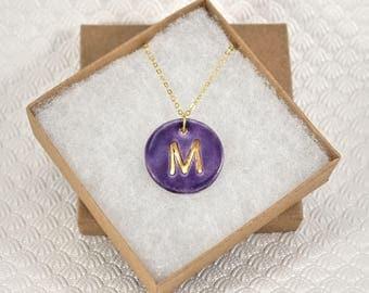 Initial Necklace, Handmade Porcelain Monogram Pendant with 22kt Gold Trim, Letter Pendant, Purple Initial Pendant, Oval Monogram Charm