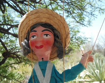Mexican Marionette Puppet HANDMADE Vintage Mexican Folk Art Marionette, String Puppet circa 1970s Mexico,