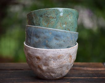 set of 3 small stoneware all purpose bowls