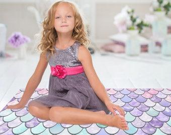Pastel Mermaid Floor Rug - Mermaid Print - Floor Rugs - 3 Sizes:  2' x 3', 3' x 5', 4' x 6'