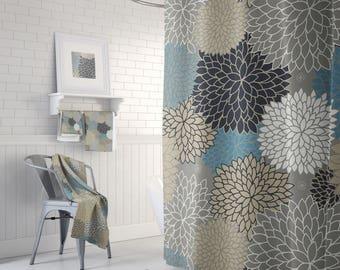 Bathroom Curtain, Shower Curtain, Gray Shower Curtain, Bathroom Decor, Shower Curtains, Bath Curtain, Bath Decor, 71 x 74