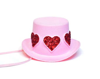 Valentine Top Hat || Pink Hat with Red Glitter Hearts || February Birthday || Valentine Photo Prop
