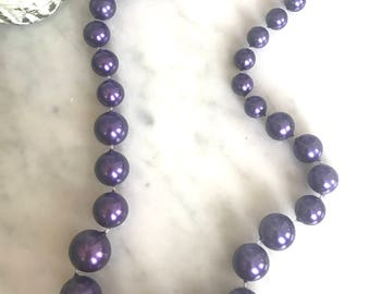 Vintage Purple Bead Necklace