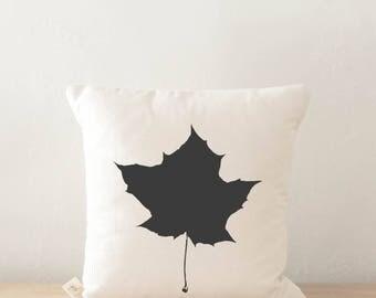 Throw Pillow - Leaf, calligraphy, home decor, fall decor, housewarming gift, cushion cover, throw pillow, seasonal pillow