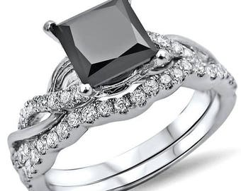 1.55ct Black Princess Cut Diamond Engagement Ring Bridal Set 14k White Gold