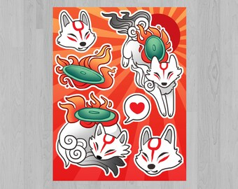 Okami Sticker Sheet - Amaterasu White Wolf Stickers