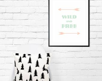 Wild and Free-Inspirational-Typography-Art-Arrows-Pink-Mint-Minimalist-Modern-Chic-Children-Girls-Boys-Nursery