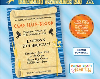 Demigod Party Invitation | INSTANT DOWNLOAD & Edit in Adobe Reader | Printable Invite | Percy Jackson | Paper Craft Party