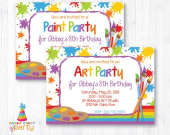 Art Party Invitation - Artist Party Invite - Printable Paint Party Invitation - Instant Download and Edit in Adobe Reader
