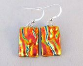 Orange Dichroic Fused Glass Dangle Earrings, Fused Glass, Fused Glass Earrings, Glass Earrings, Dichroic Earrings, Dichroic, Orange, Dangle