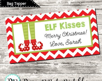 Christmas Elf Kisses Merry Christmas Treat Bag Topper Favor Digital Printable