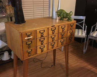 Standard Furniture Company library card file cabinet mid century 1950's very good condition