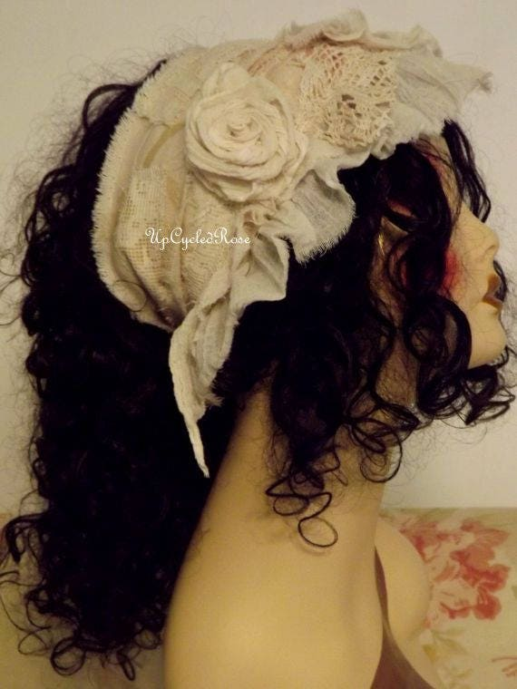 Tattered Rose Hair Wrap Shabby Couture Art To Wear Festival Garb Ready to Ship