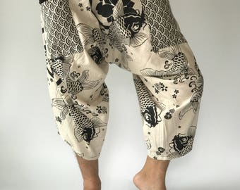 HC0103 Samurai Pants Men's Fahion Harem Pants Yoga Pants Casual Cotton Bottoms