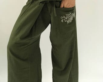 TCP00 Green Embro Thai fisherman/Yoga are pants Free-size: Will fit men or woman