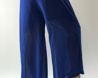 WL0093 Chiffon Blue Lady soft wide leg style lady pants with elastic waistband