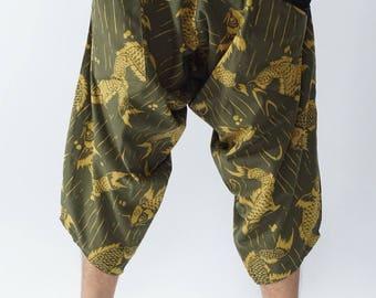HC0433 Samurai Pants  - elastic waistband and cuffs - Fits all!  Unisex pants